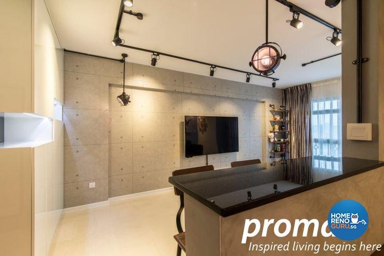 Industrial, Retro Design - Living Room - HDB 4 Room - Design by Promax Design Pte Ltd
