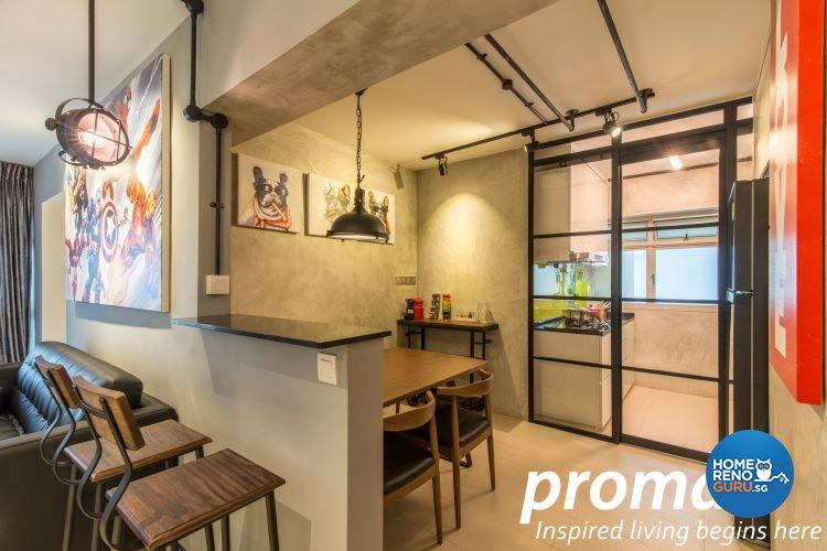 Industrial, Retro Design - Dining Room - HDB 4 Room - Design by Promax Design Pte Ltd