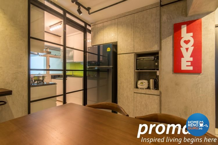Industrial, Retro Design - Kitchen - HDB 4 Room - Design by Promax Design Pte Ltd