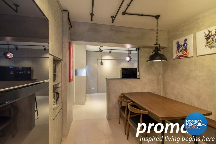Industrial, Retro Design - Dining Room - HDB 4 Room - Design by Promax Design Pte Ltd