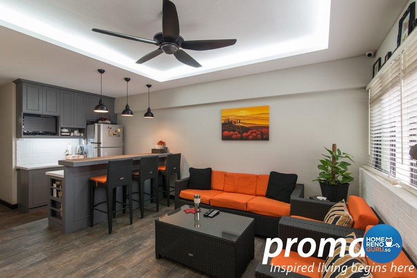 Contemporary, Victorian Design - Living Room - HDB Executive Apartment - Design by Promax Design Pte Ltd