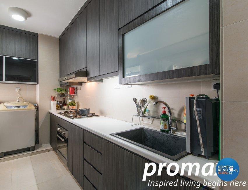 Contemporary, Victorian Design - Kitchen - HDB Executive Apartment - Design by Promax Design Pte Ltd