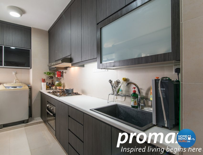 Contemporary, Victorian Design - Kitchen - HDB Executive Apartment - Design by Promax Design Pte Ltd