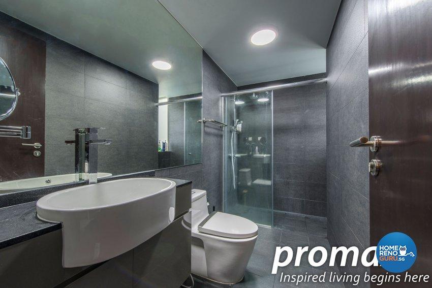 Modern, Rustic Design - Bathroom - Condominium - Design by Promax Design Pte Ltd
