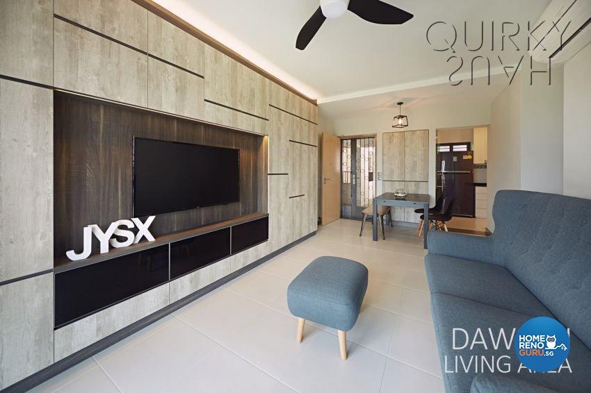 Modern, Scandinavian Design - Living Room - HDB 4 Room - Design by Quirky Haus Pte Ltd