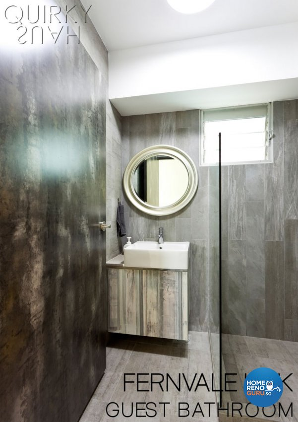 Contemporary, Industrial, Modern Design - Bathroom - HDB 4 Room - Design by Quirky Haus Pte Ltd