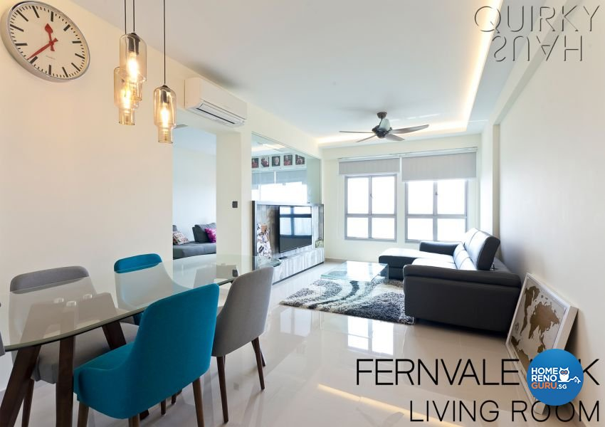 Contemporary, Industrial, Modern Design - Living Room - HDB 4 Room - Design by Quirky Haus Pte Ltd