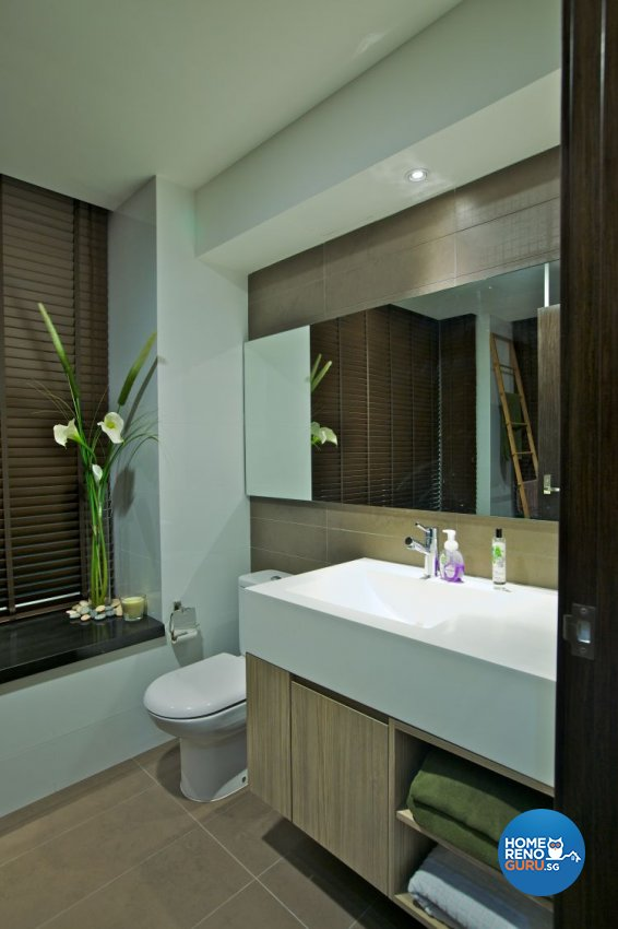 Modern, Tropical Design - Bathroom - HDB 3 Room - Design by Renozone Interior Design House