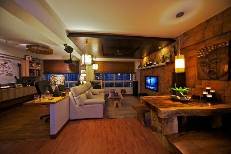 Country, Tropical Design - Living Room - HDB 4 Room - Design by Renozone Interior Design House