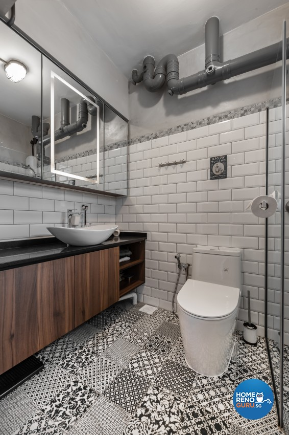Industrial, Scandinavian Design - Bathroom - HDB 4 Room - Design by Renozone Interior Design House