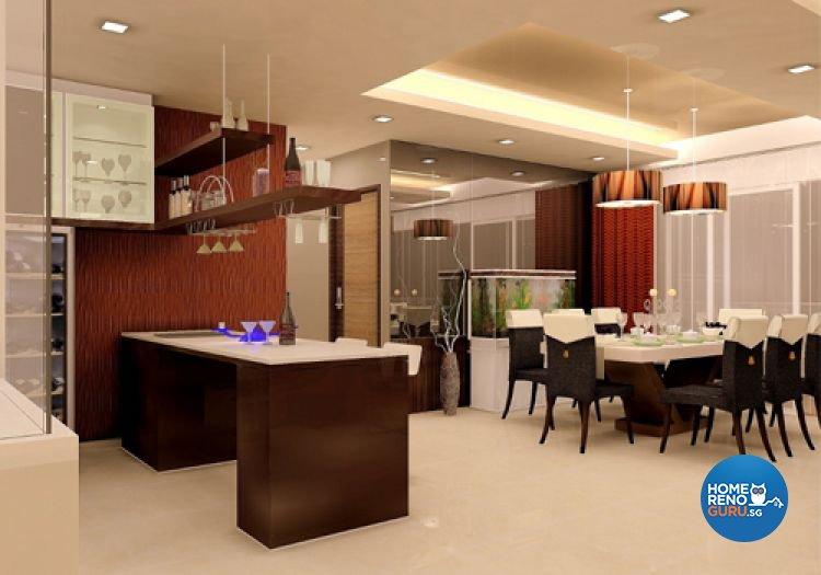 Contemporary, Resort Design - Dining Room - HDB 5 Room - Design by Samlo Design Group Pte Ltd