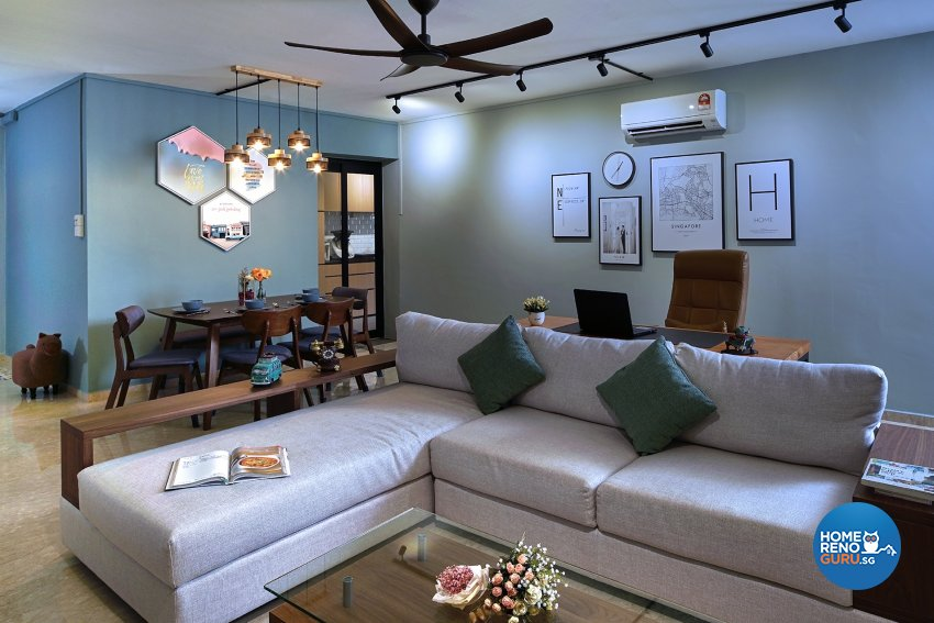 Contemporary Design - Living Room - HDB 5 Room - Design by Six Dimension Design & Decor Pte Ltd