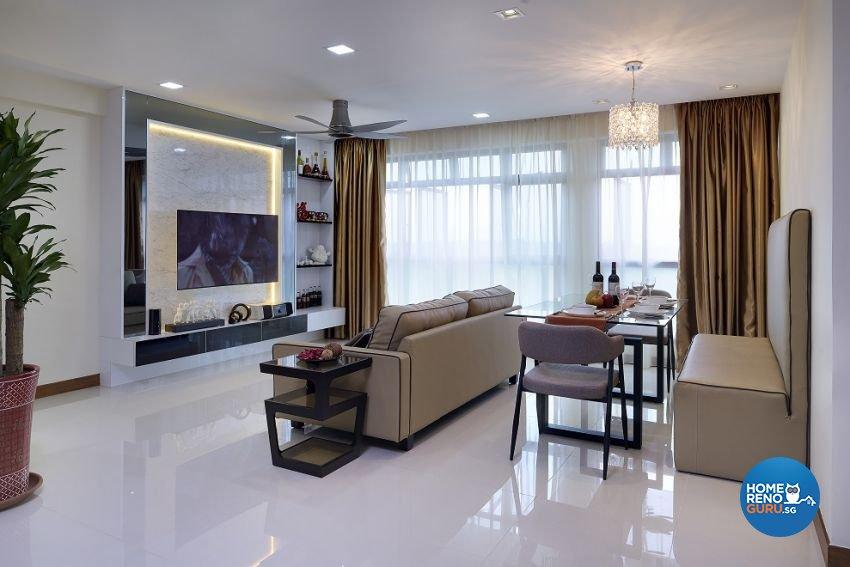 Contemporary, Modern Design - Living Room - HDB 5 Room - Design by Six Dimension Design & Decor Pte Ltd