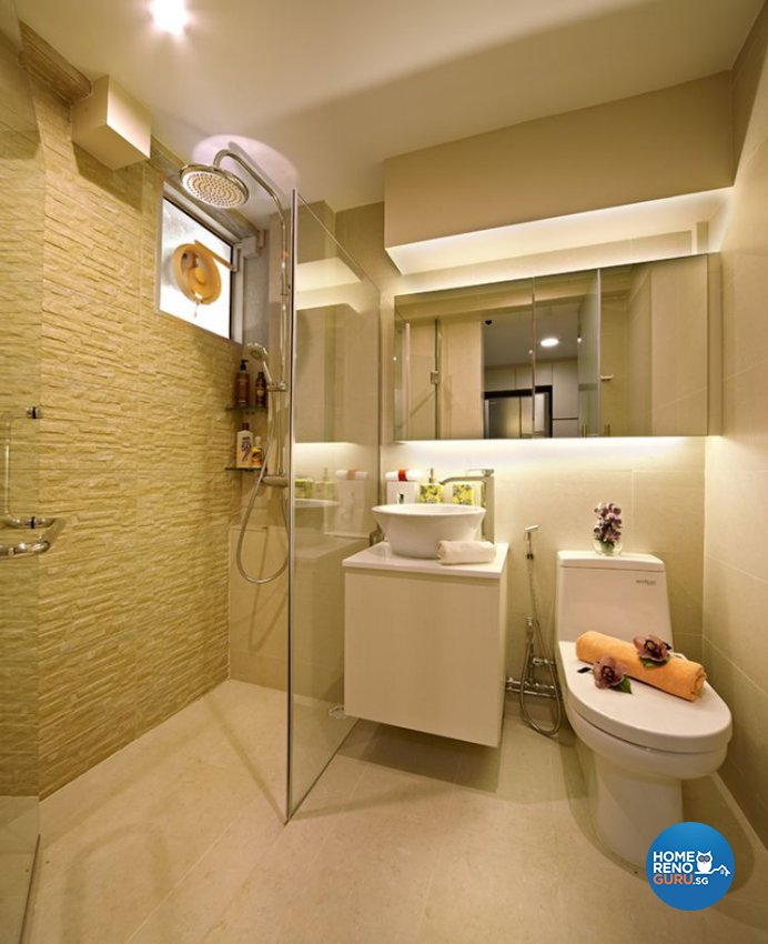 Retro, Rustic Design - Bathroom - HDB 5 Room - Design by Six Dimension Design & Decor Pte Ltd