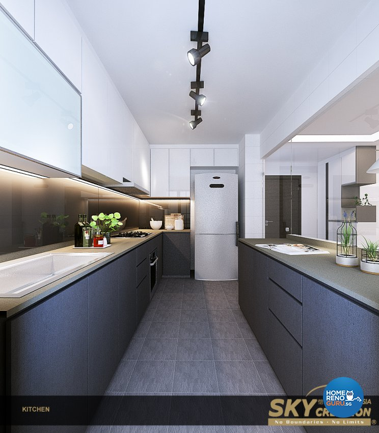 Contemporary Design - Kitchen - HDB 4 Room - Design by Sky Creation