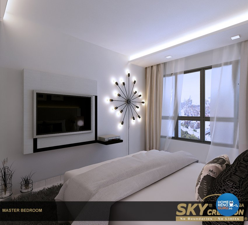 Contemporary Design - Bedroom - HDB 4 Room - Design by Sky Creation