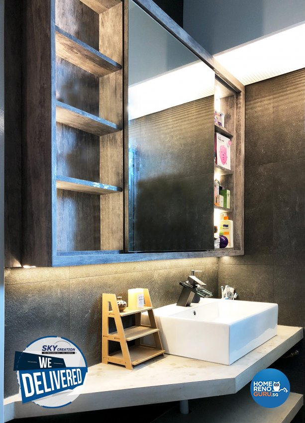 Industrial Design - Bathroom - HDB 3 Room - Design by Sky Creation