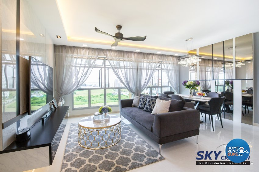 Contemporary, Modern Design - Living Room - HDB 5 Room - Design by Sky Creation