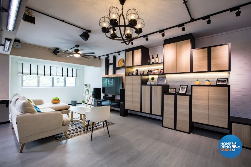 Industrial Design - Living Room - HDB Executive Apartment - Design by Sky Creation