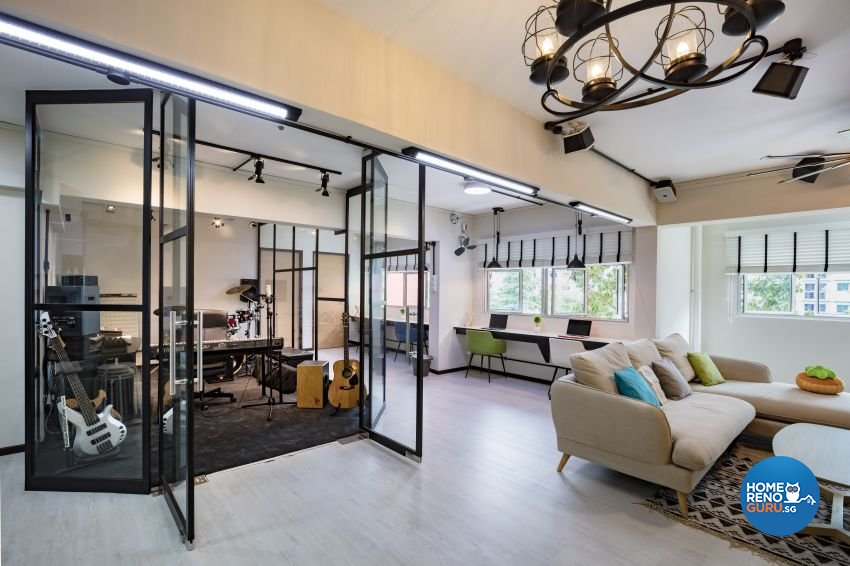 Industrial Design - Entertainment Room - HDB Executive Apartment - Design by Sky Creation