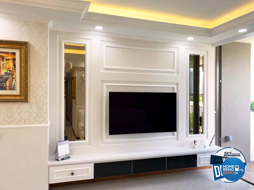 Classical, Country, Victorian Design - Living Room - HDB Executive Apartment - Design by Sky Creation