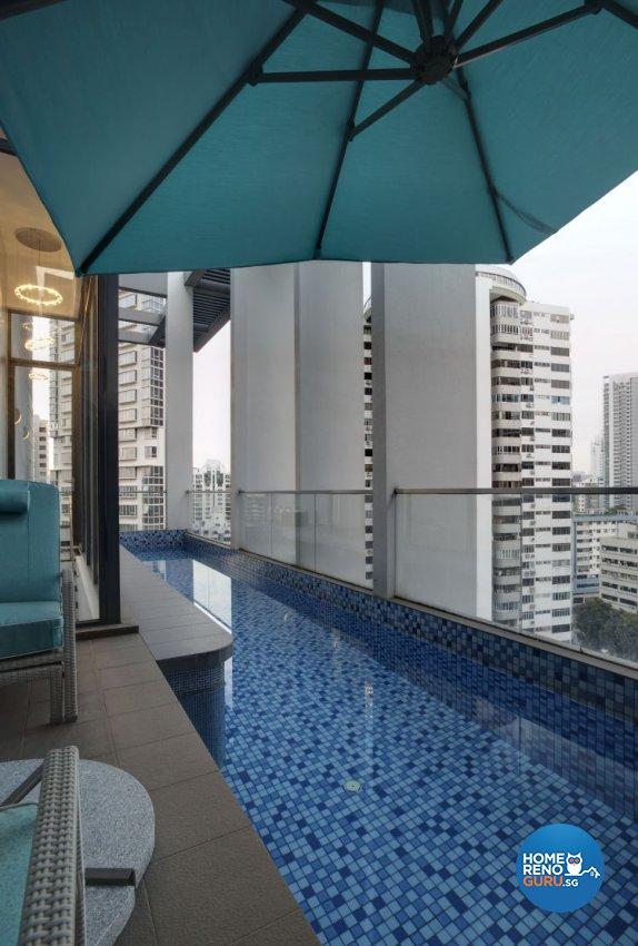 Minimalist, Modern Design - Balcony - Condominium - Design by Space Atelier Pte Ltd