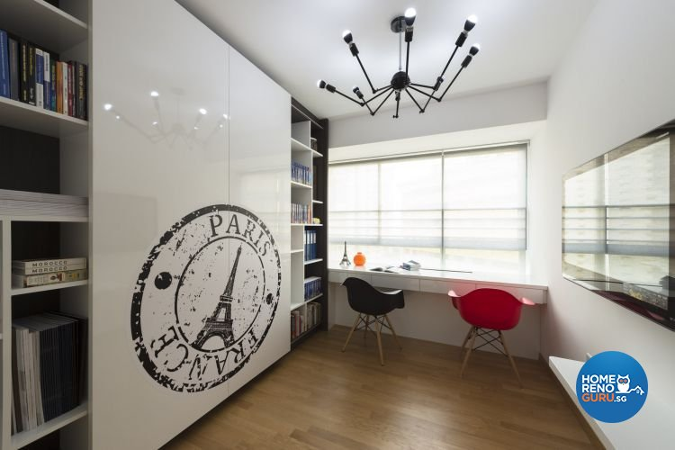 Contemporary, Retro Design - Study Room - HDB 5 Room - Design by Space Factor Pte Ltd