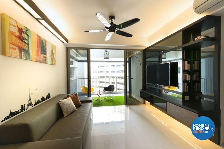 Contemporary, Retro Design - Living Room - HDB 5 Room - Design by Space Factor Pte Ltd