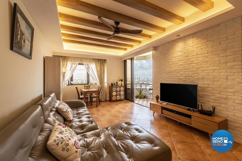 Country Design - Living Room - Condominium - Design by Space Vision Design Pte Ltd