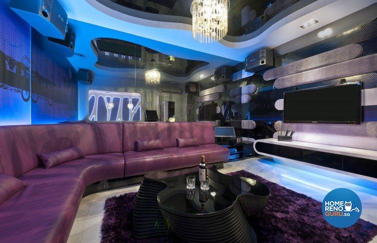 Eclectic, Modern Design - Entertainment Room - Landed House - Design by Space Vision Design Pte Ltd