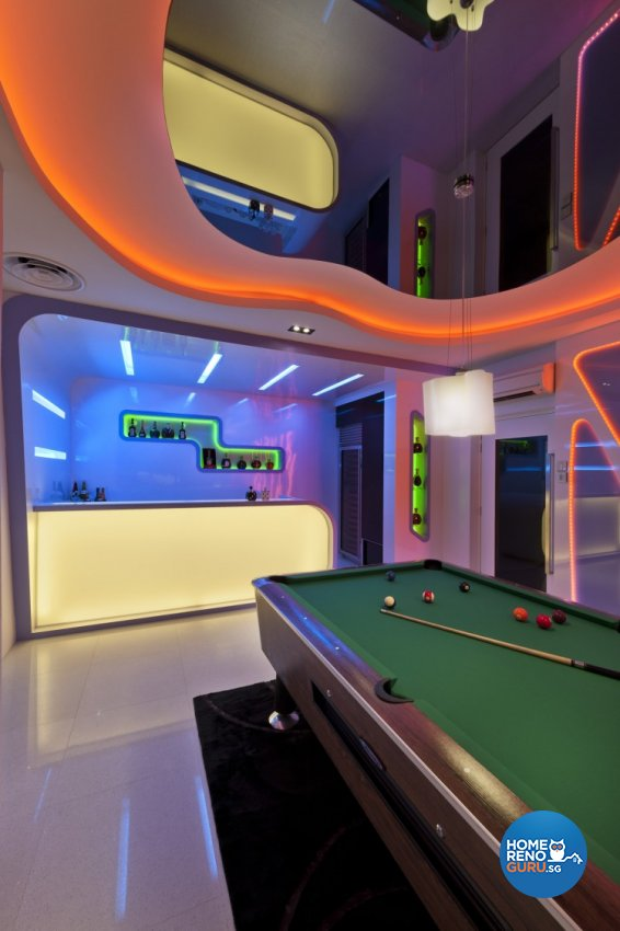 Eclectic, Modern Design - Entertainment Room - Landed House - Design by Space Vision Design Pte Ltd
