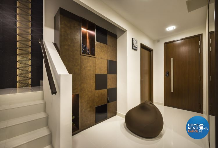 Contemporary, Rustic Design - Living Room - Landed House - Design by Space Vision Design Pte Ltd
