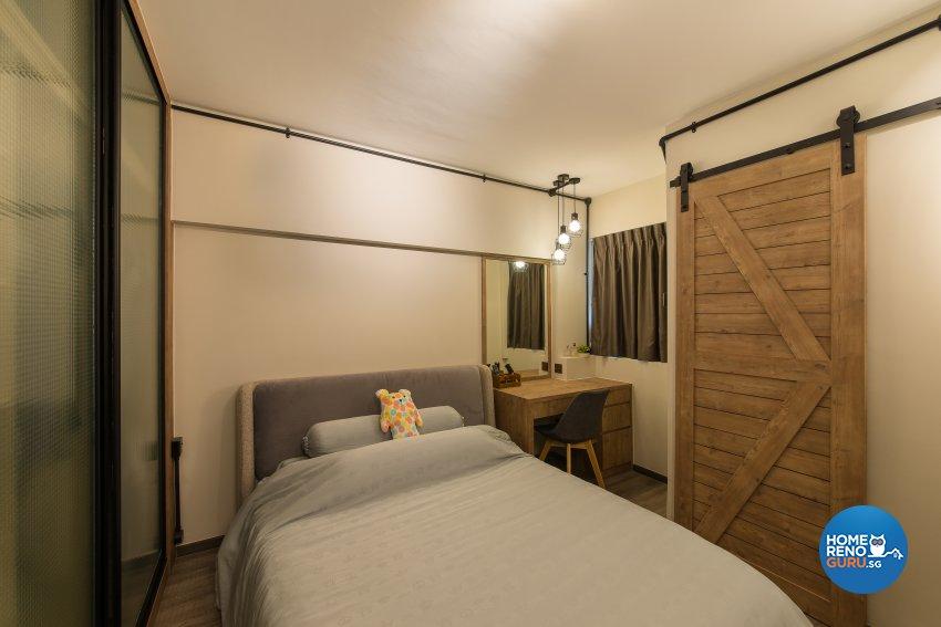 Industrial Design - Bedroom - HDB 4 Room - Design by Space Vision Design Pte Ltd
