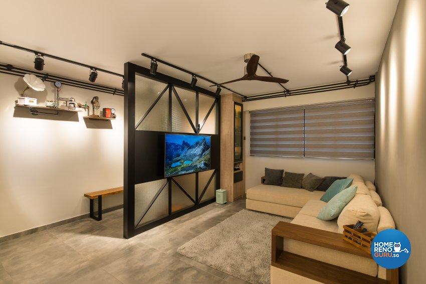 Industrial Design - Living Room - HDB 4 Room - Design by Space Vision Design Pte Ltd