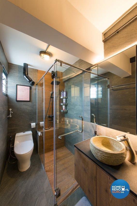 Industrial Design - Bathroom - HDB 4 Room - Design by Space Vision Design Pte Ltd