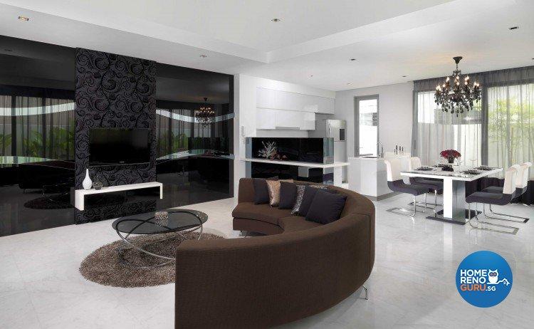 Contemporary, Modern Design - Living Room - Landed House - Design by Space Vision Design Pte Ltd