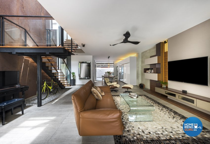 Industrial, Scandinavian Design - Living Room - Landed House - Design by Space Vision Design Pte Ltd