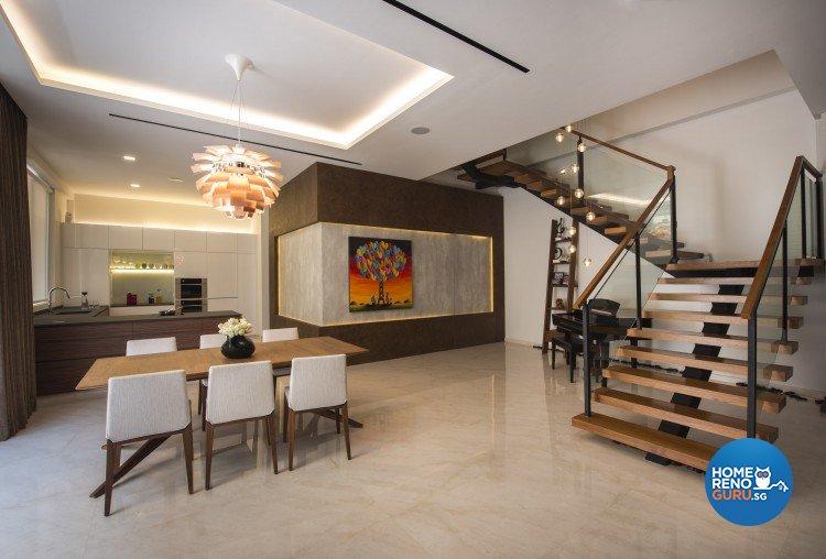 Mediterranean, Rustic, Scandinavian Design - Dining Room - Landed House - Design by Space Vision Design Pte Ltd