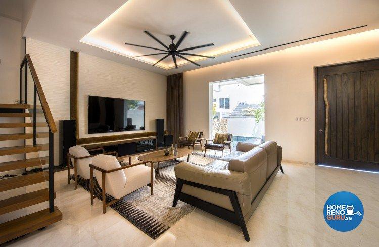 Mediterranean, Rustic, Scandinavian Design - Living Room - Landed House - Design by Space Vision Design Pte Ltd