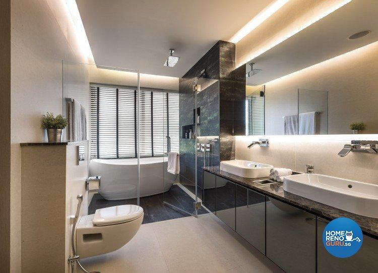 Mediterranean, Rustic, Scandinavian Design - Bathroom - Landed House - Design by Space Vision Design Pte Ltd