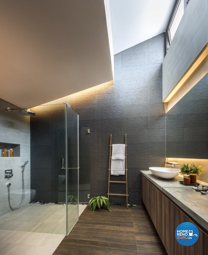 Mediterranean, Rustic, Scandinavian Design - Bathroom - Landed House - Design by Space Vision Design Pte Ltd