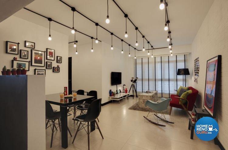 Industrial, Scandinavian Design - Living Room - HDB 4 Room - Design by Spacious Planners Pte Ltd