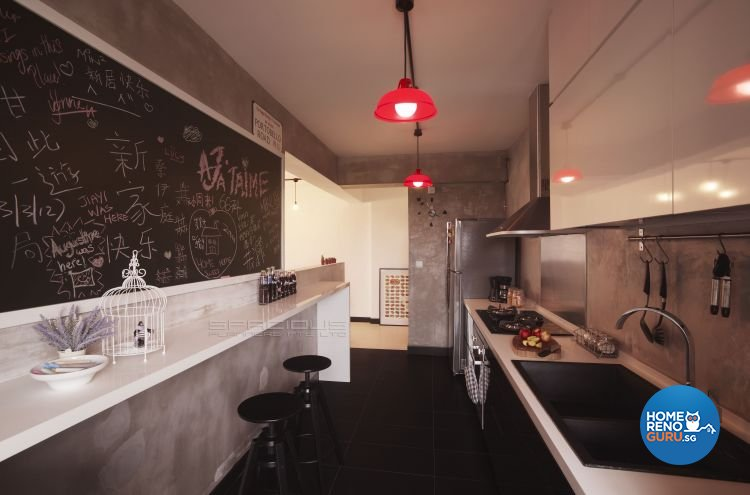 Industrial, Scandinavian Design - Kitchen - HDB 4 Room - Design by Spacious Planners Pte Ltd