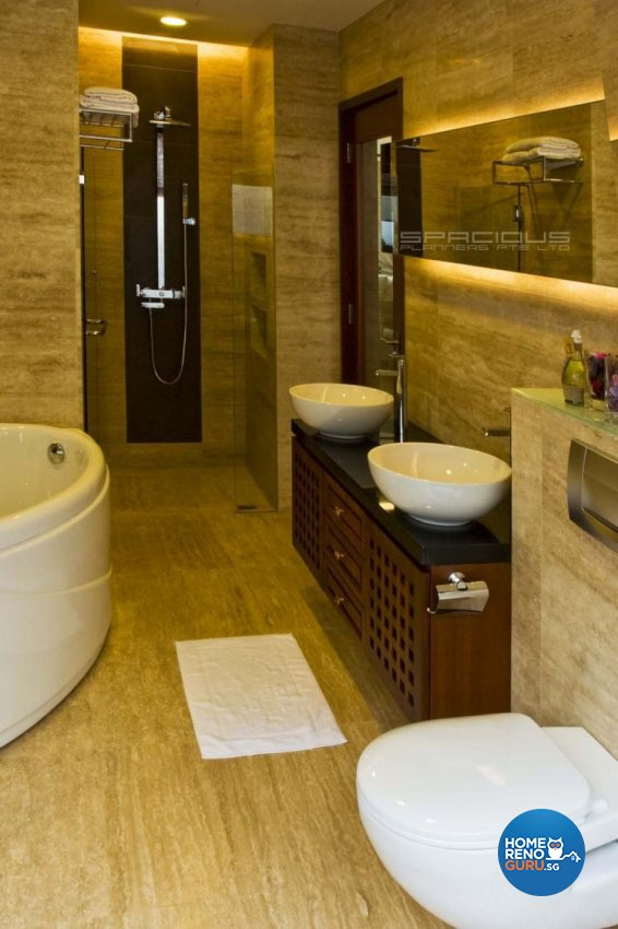 Resort, Tropical Design - Bathroom - Landed House - Design by Spacious Planners Pte Ltd