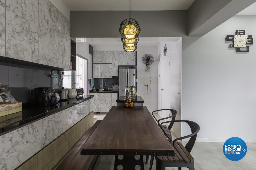 Industrial Design - Dining Room - HDB 4 Room - Design by Starry Homestead Pte Ltd