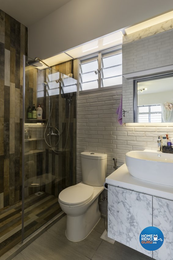 Industrial Design - Bathroom - HDB 4 Room - Design by Starry Homestead Pte Ltd