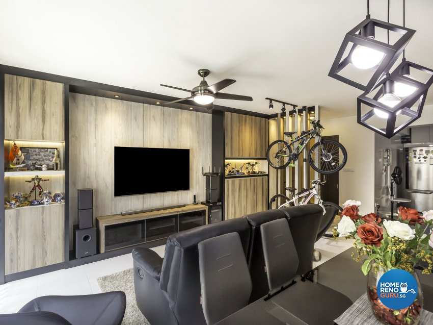 Modern, Rustic Design - Living Room - HDB 5 Room - Design by Starry Homestead Pte Ltd