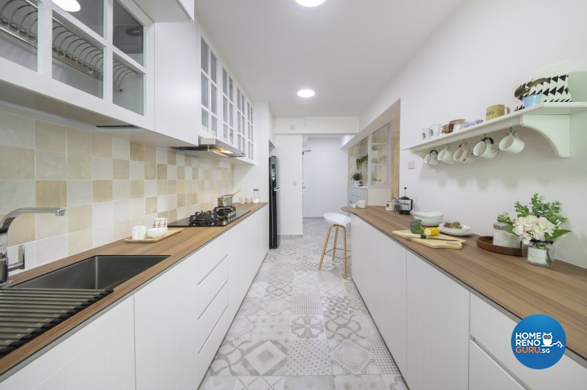 Country, Modern Design - Kitchen - HDB 5 Room - Design by Starry Homestead Pte Ltd