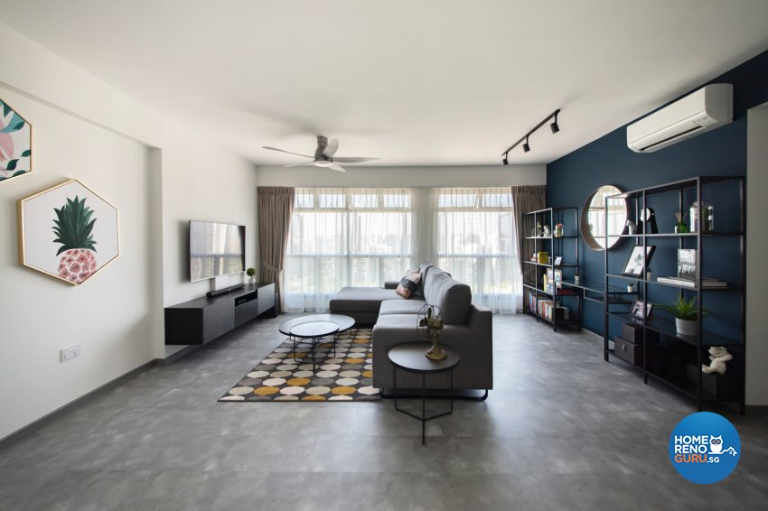 Industrial, Modern Design - Living Room - HDB 5 Room - Design by Starry Homestead Pte Ltd