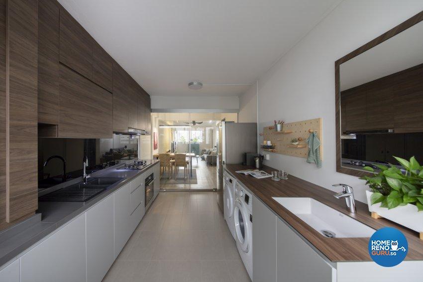 Industrial, Scandinavian Design - Kitchen - HDB 4 Room - Design by Starry Homestead Pte Ltd